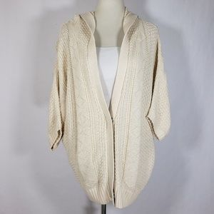 Free People Button Up Short Sleeve Hoodie Cardigan